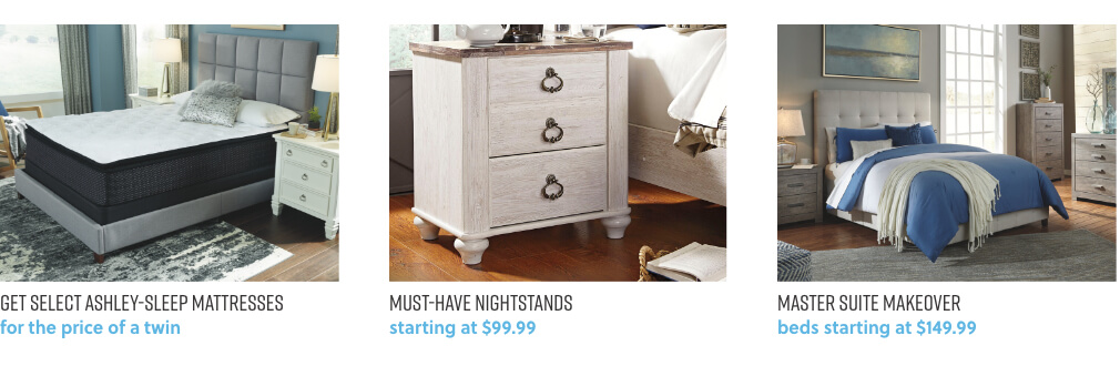 Ashley Mattresses, Nightstands, Master Suite Makeover