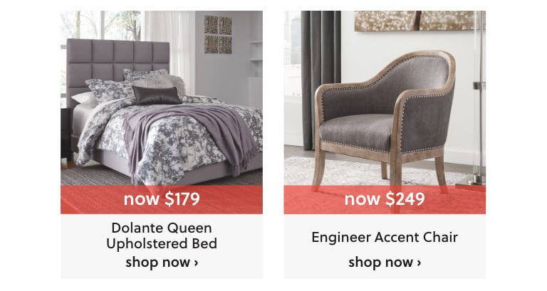 Dolante Queen Upholstered Bed and Engineer Accent Chair