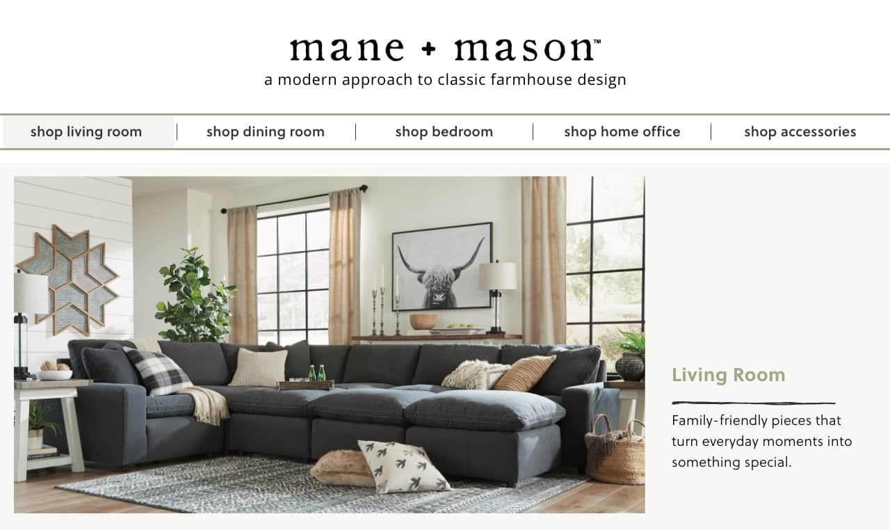Mane Mason Modern Farmhouse Living Room Furniture