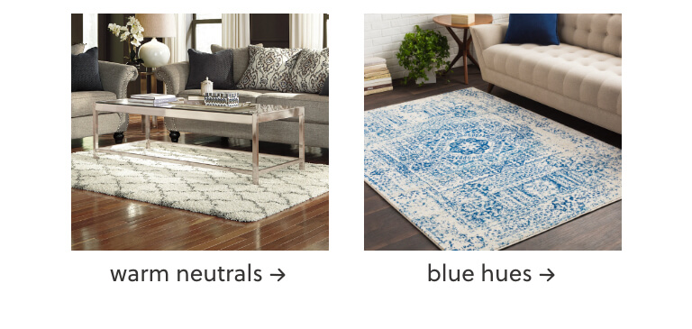 Warm Neutrals, Blue Rugs