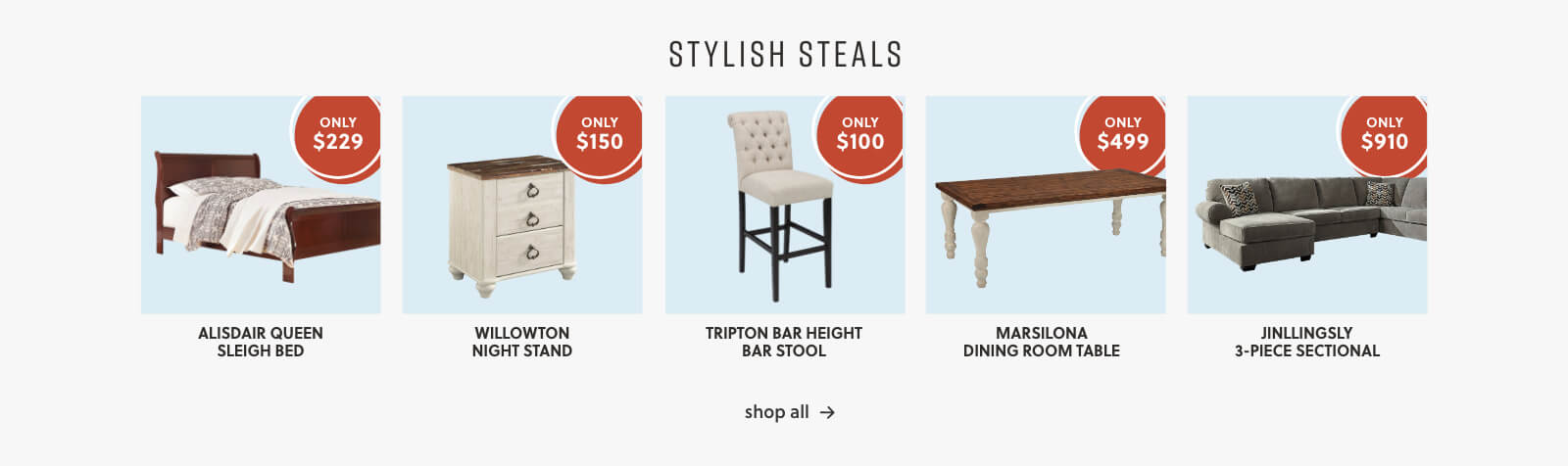 Aldwin Queen Panel Bed, Sorinella Queen Upholstered Bed, Beachcroft Dining Table, Marsilona Dining Table, Gamaliel 2 Piece Sectional