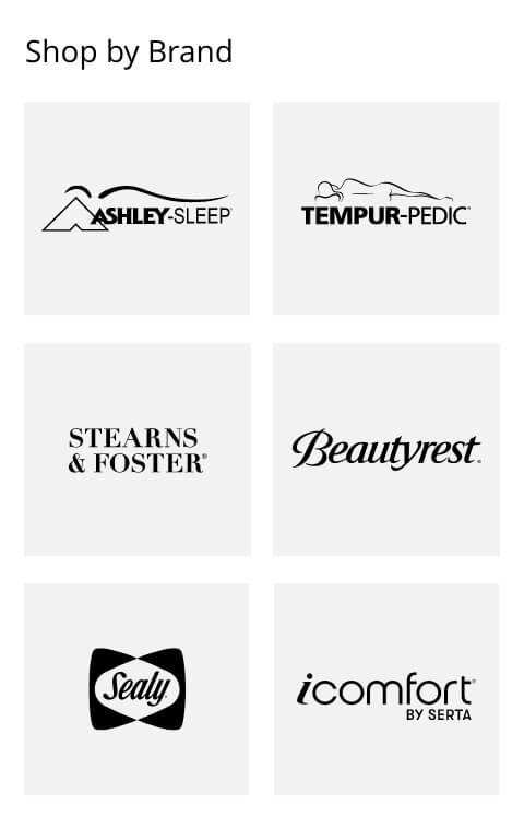 Ashley Sleep, Tempur-Pedic, Stearns and Foster, Beautyrest, Sealy, icomfort Serta