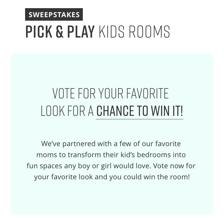 Kids Pick and Play Sweepstakes