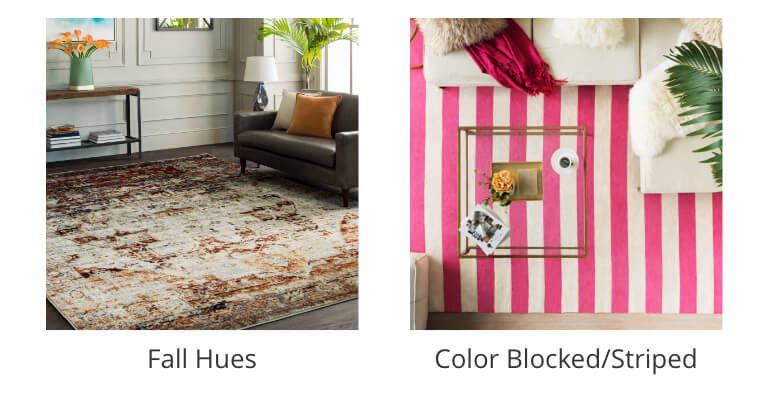 Fall Hues Rugs, Color Blocked Rugs, Striped Rugs