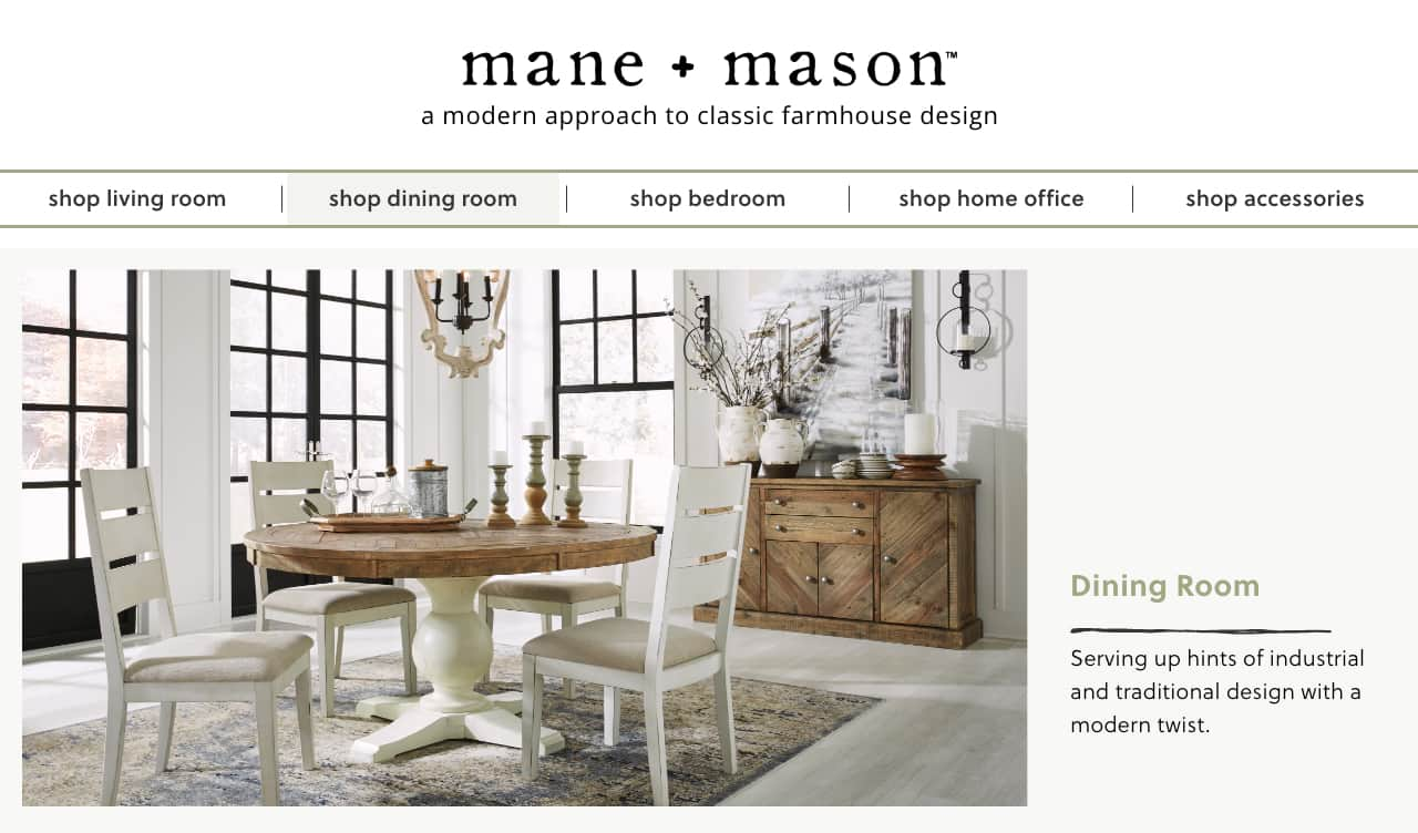 Mane + Mason | Modern Farmhouse Dining Room | Ashley Furniture HomeStore