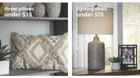 Lighting Deals Under $75, Throw Pillows Under $35