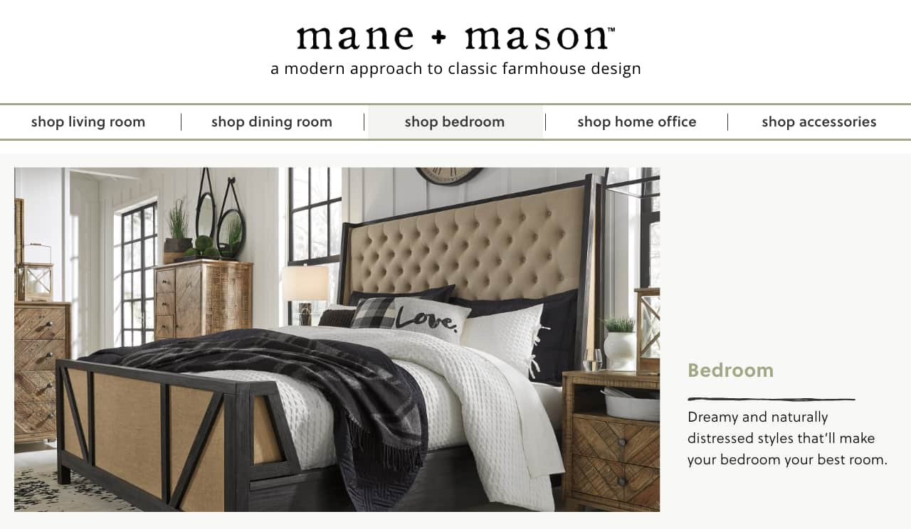 Mane + Mason | Modern Farmhouse Bedroom | Ashley Furniture HomeStore