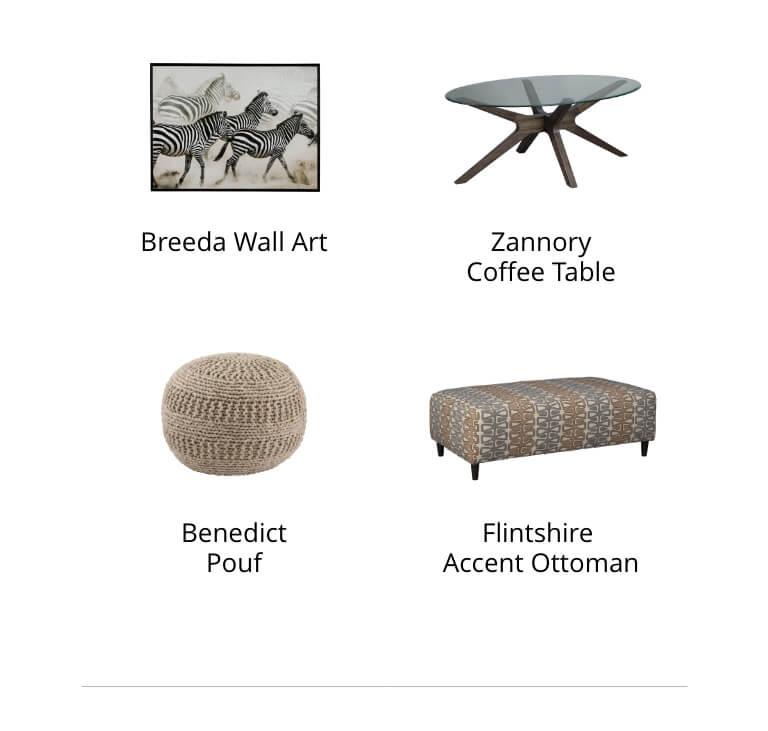 Breeda Wall Art, Zannory Coffee Table, Benedict Pouf, Flintshire Ottoman