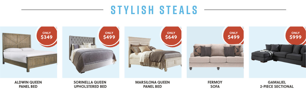 Aldwin Queen Panel Bed, Sorinella Queen Upholstered Bed, Marsilona Queen Panel Bed, Fermoy Sofa