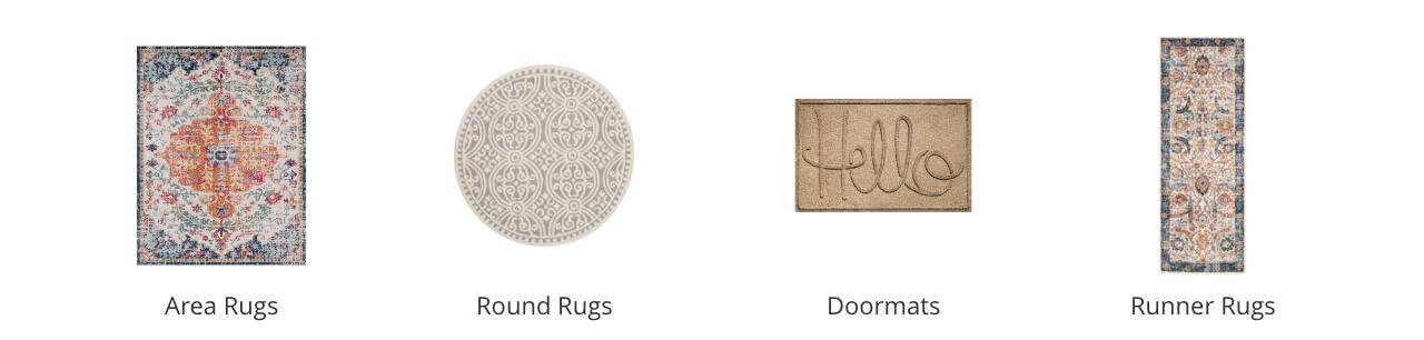 Area Rugs, Round Rugs, Doormats, Runner Rugs