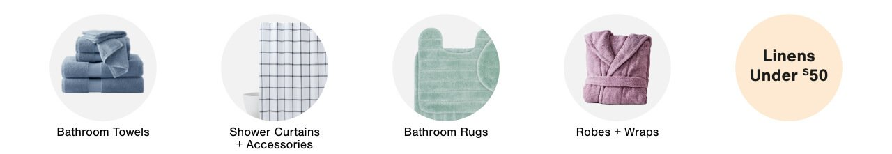 Bathroom Towels,Shower Curtains & Accessories, Bathroom Rugs, Toilet Brushes & Tissue Holders,Ropes & Wraps,Linens Under $50