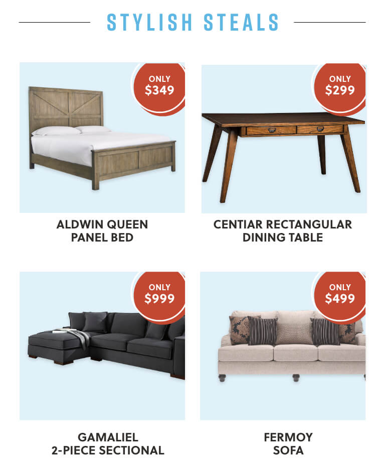 Aldwin Queen Panel Bed, Cenitiar Rectangular Dining Table, Gamaliel Sectional, Fermoy Sofa