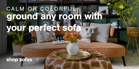 Calm or colorful, ground any room with your perfect sofa