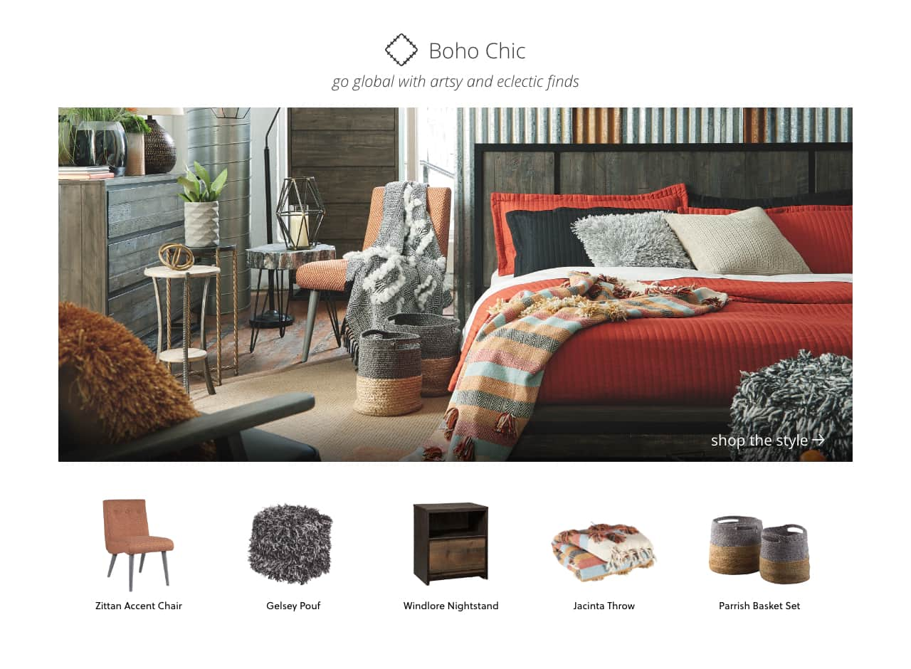 Boho Chic artsy and eclectic furniture, Zittan Accent Chair, Gelsey Pouf, Windlore Nightstand, Jacinta Throw, Parrish Basket Set