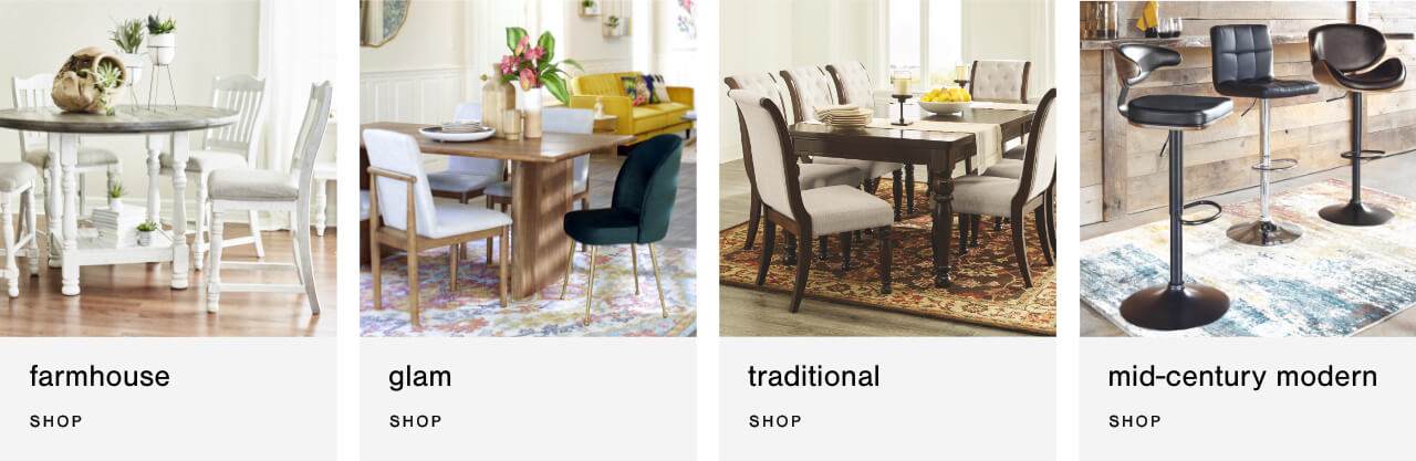 Shop By Style: farmhouse, glam, traditioal, mid-century modern