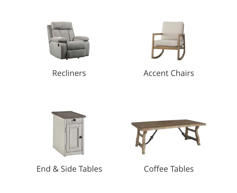 Recliners, Accent Chairs, End and Side Tables, Coffee Tables