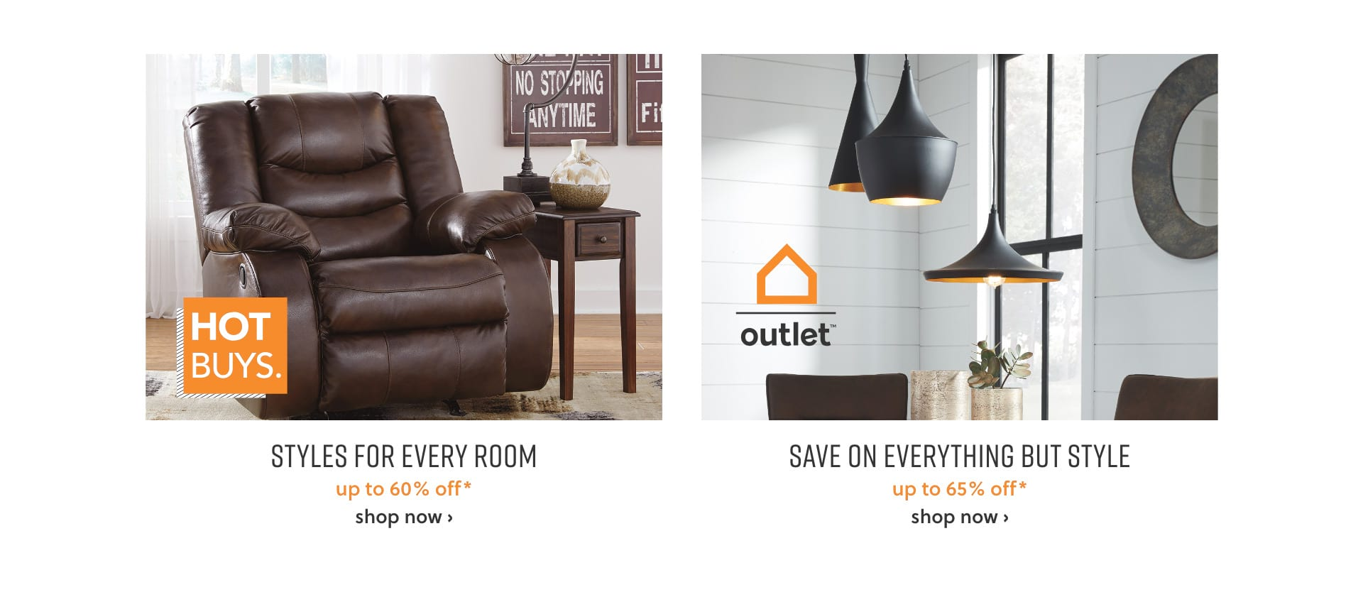 Up to 60% off* Hot Buys and up to 65% off* Outlet
