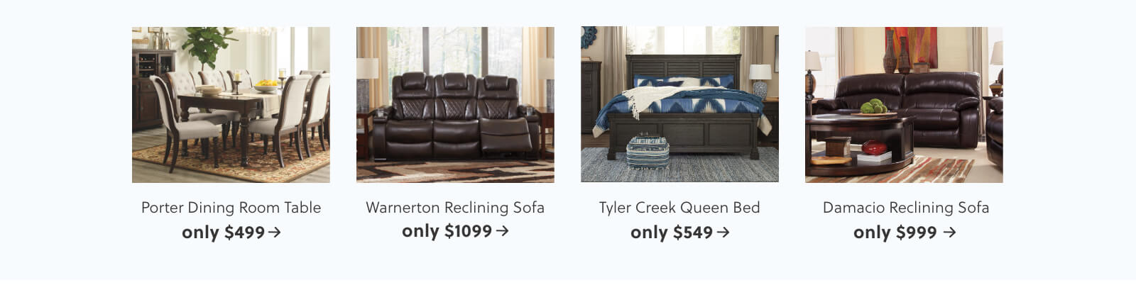 Porter Dining Room Table, Warnerton Reclining Sofa, Tyler Creek Queen Bed, Damacio Reclining Sofa