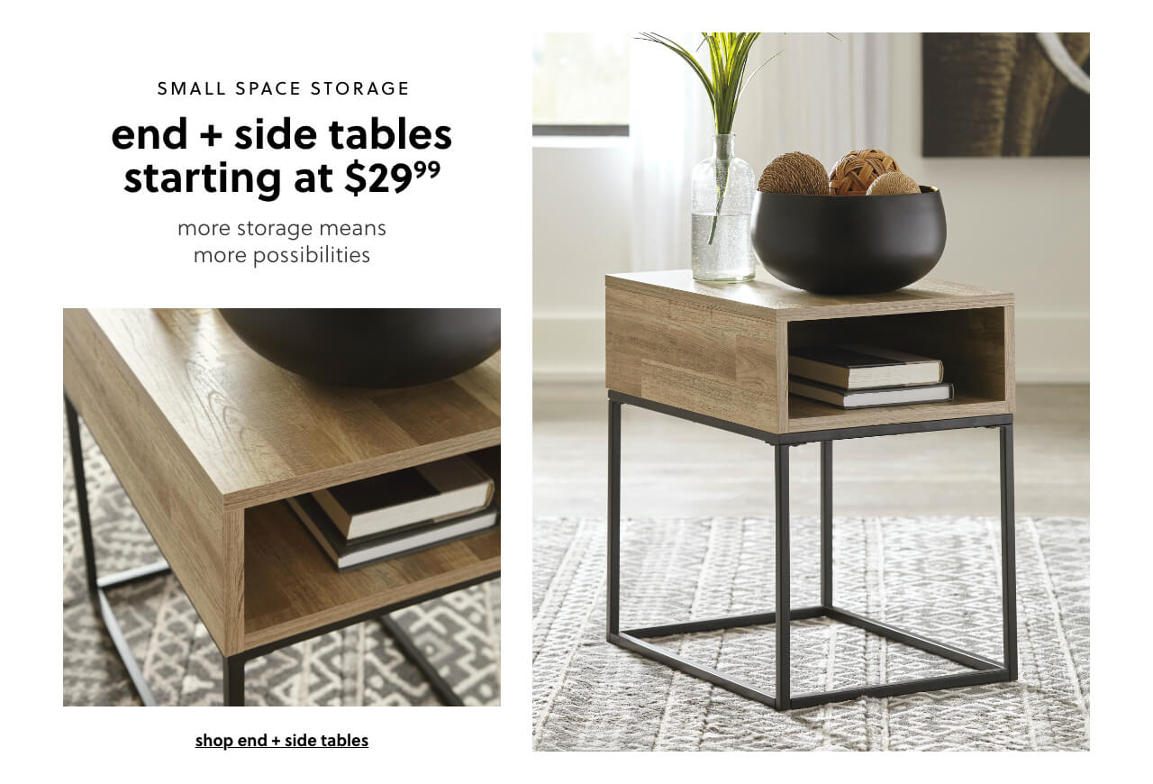 End + Side tables s/a $29.99