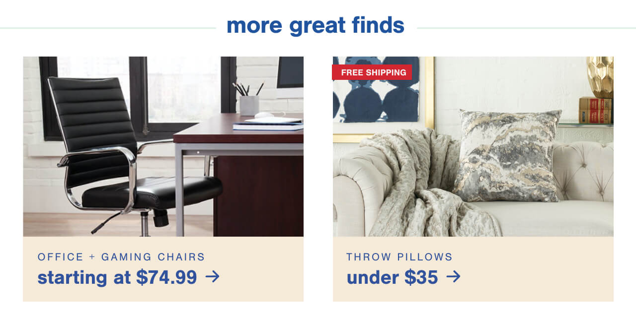 Office & Gaming Chairs $74.99 ,Pillows Under $35 + Free Shipping