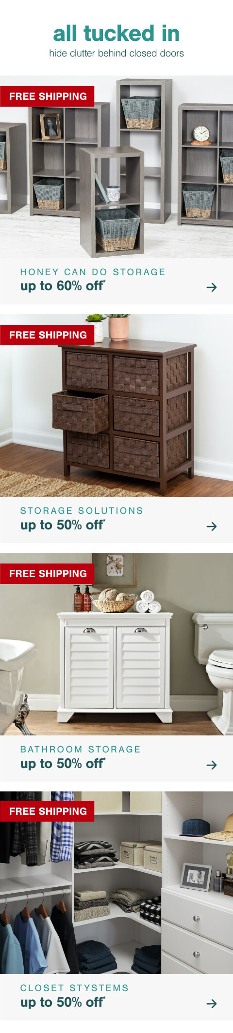 Storage Solutions featuring Honey Can Do up to 60% off + Free Shipping, New Arrivals for the New Year- Up to 50% off Storage Solutions + Free Shipping    , G New Year, New Closet- Up to 50% Off Closet Systems + Free Shipping