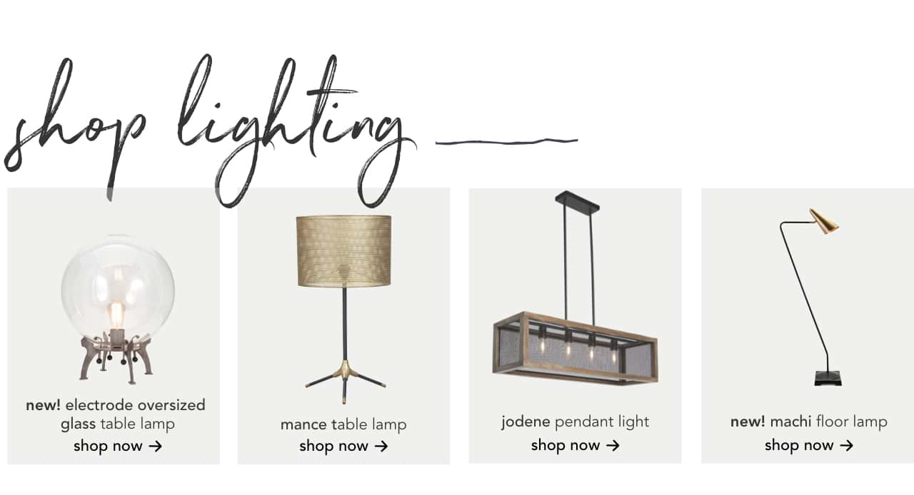Glass Table Lamp, Mance Table Lamp, Jodene Pendant Light, Machi Floor Lamp