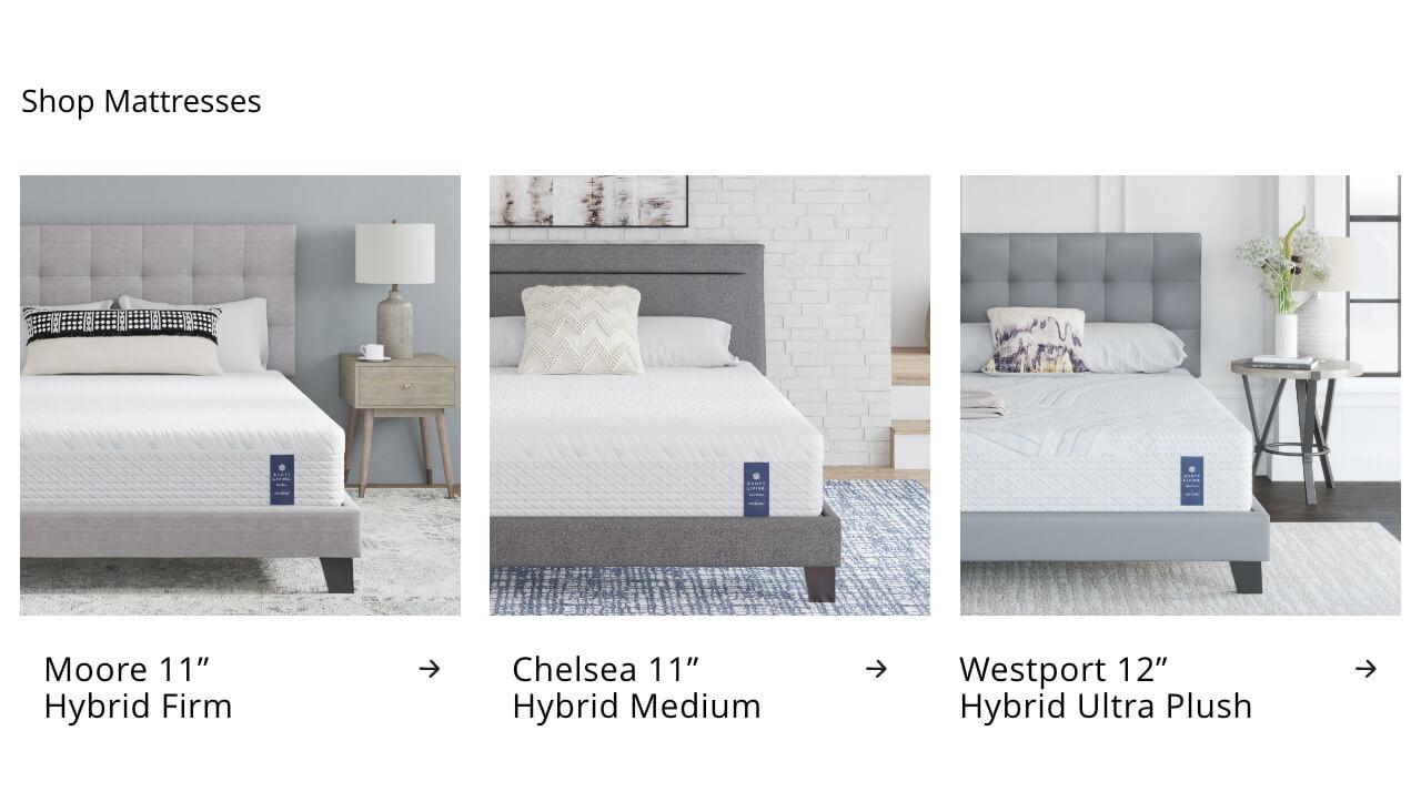 Moore Hybrid Firm, Chelsea Hybrid Medium, Westport Hybrid Ultra Plush