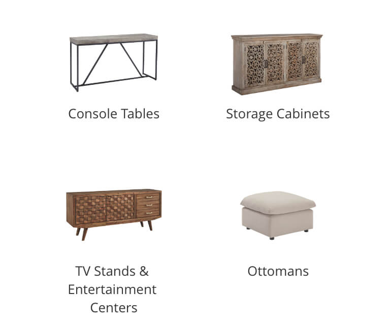 Console Tables, Storage Cabinets, TV Stands and Entertainment Centers, Ottomans