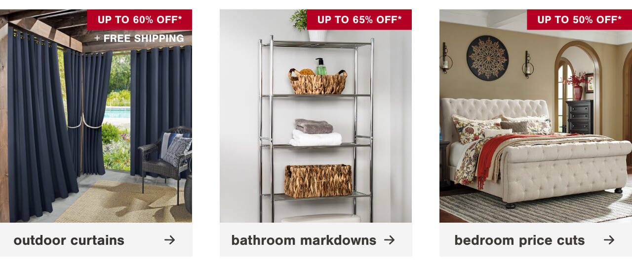 Beat the Heat with Blackout & Thermal Window Treatments up to 50% off + Free Shipping, Bathroom Vanities Up to 30% Off + Free Shipping,  Cribs Up to 50% Off + Free Shipping