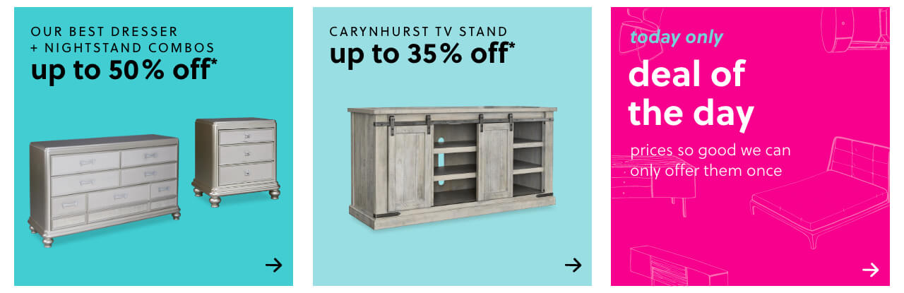 Our Best Dresser & Nightstand Combos Up to 50% Off , Daily Deals Furniture, Carynhurst TV Stand up to 35% off