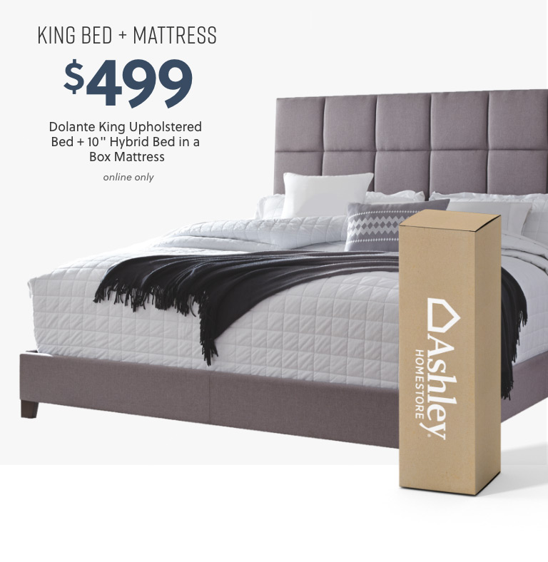 Dolante King Upholstered Bed with 10inch Hybrid Bed in a Box Mattress