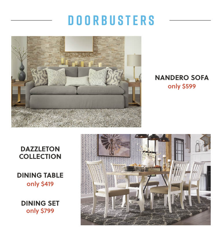 Nandero Sofa, Dazzleton Dining Table and Set