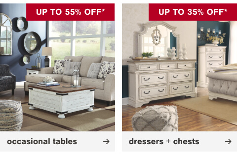 Coffee and End Table Sets Up to 35% Off, Bedroom Dressers and Chests Up to 35% Off