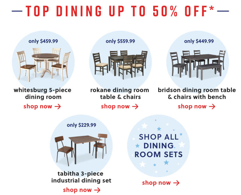 Whitesburg Dining, Rokane Dining, Bridson Dining,Tabitha Dining, Shop All Dining Sets