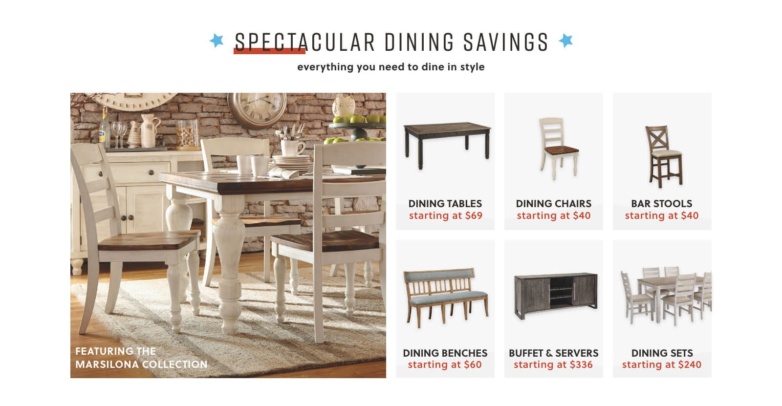 Bolanburg Collection, Dining Tables, Dining Chairs, Bar Stools, Dining Benches, Buffet Servers, Dining Sets