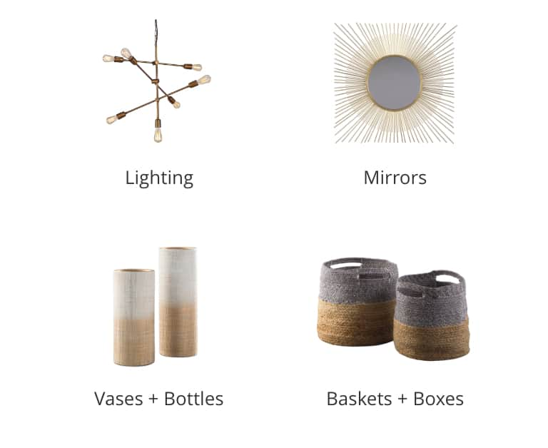 Entryway Lighting, Mirrors, Vases and Bottles, Baskets and Boxes