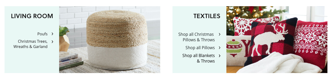 Holiday Home Decor: Poufs, Trees and Garland, Pillows, Blankets