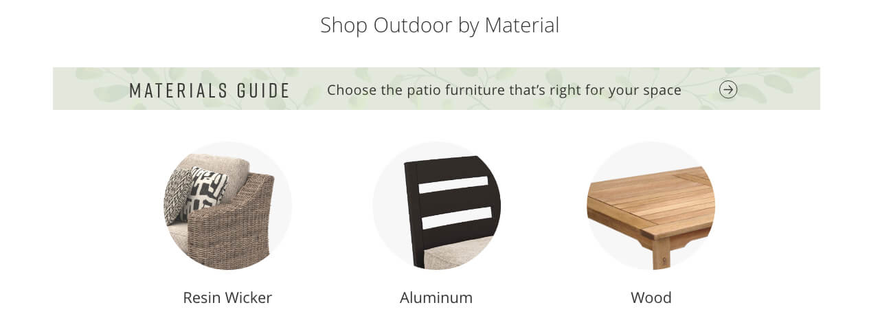 Outdoor Materials Guide, Resin Wicker, Aluminum, Wood