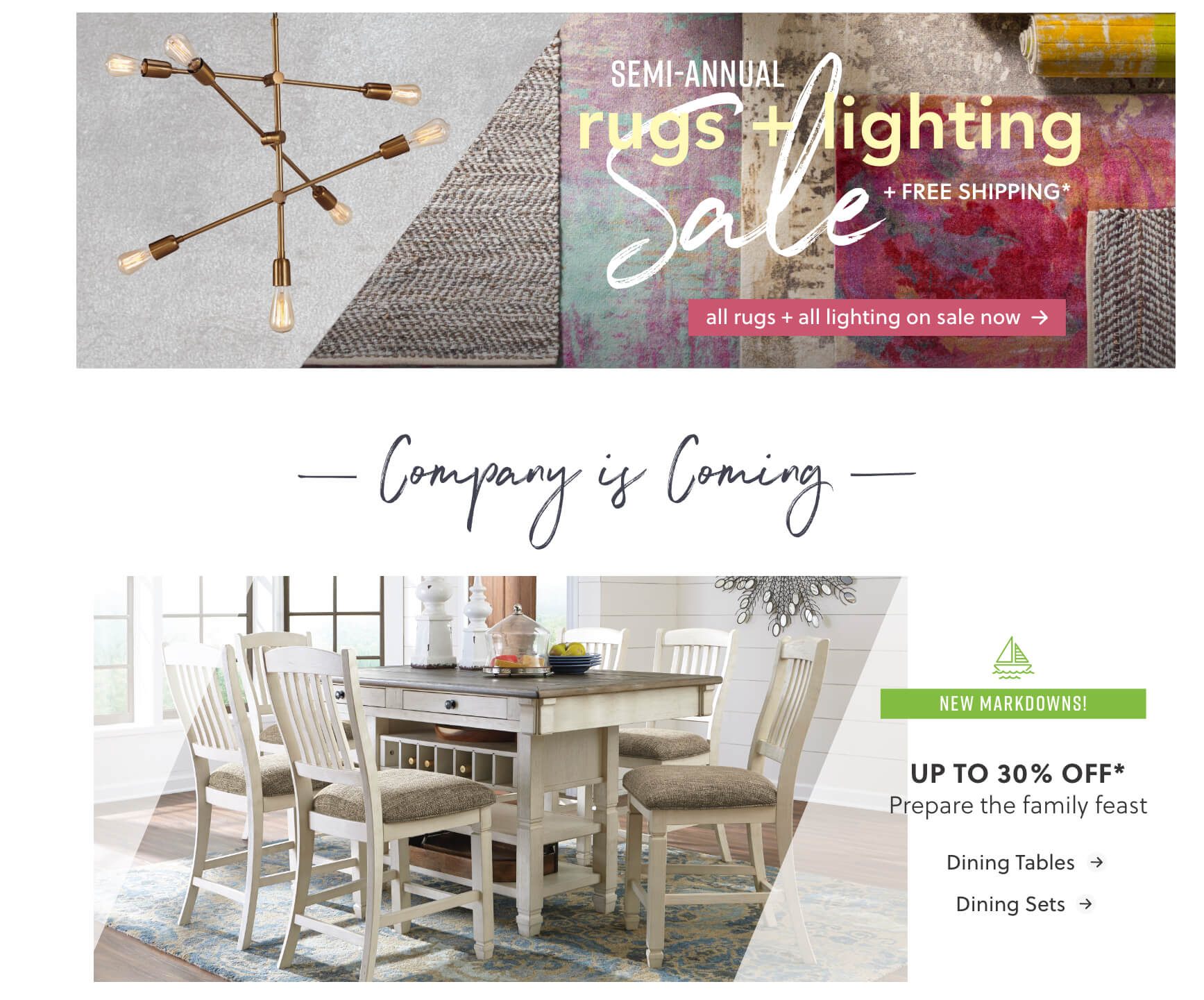 Rugs and Lighting Sale, Dining Tables, Dining Sets