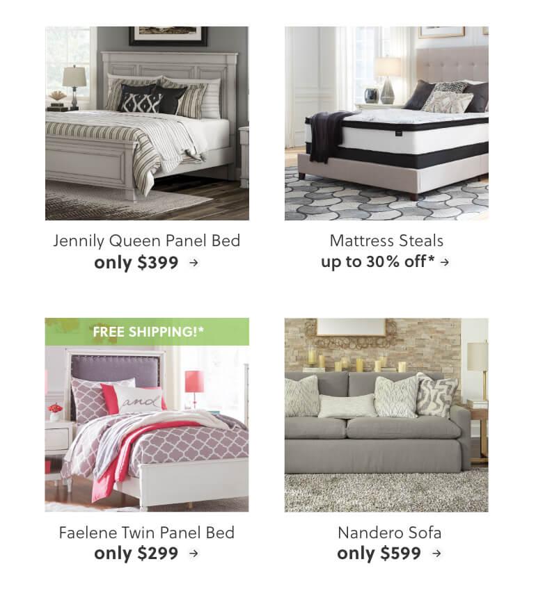 Jennily Queen Panel Bed, Mattress Steals, Faelene Twin Panel Bed, Nandero Sofa