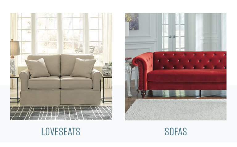 Sofa Unpackt in a box, loveseats and sofas