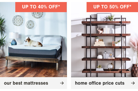 Up to 40% off our best mattress brands, Price Cuts up to 50%