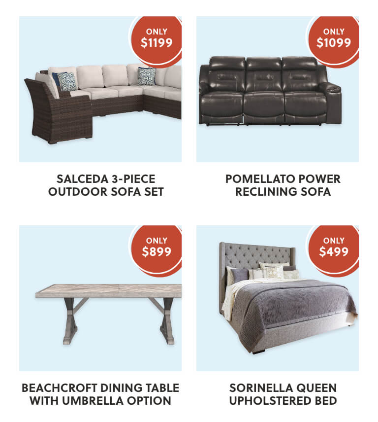 Salceda Sectional with Chair, Pomellato Power Reclining Sofa, Beachcroft Dining Table, Sorinella Queen Upholstered Bed