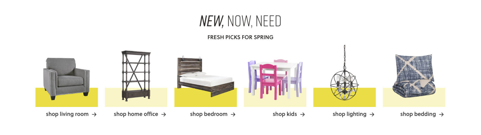 New Living Room Furniture, New Home Office Furniture, New Bedroom Furniture, New Kids Furniture, New Lighting, New Bedding