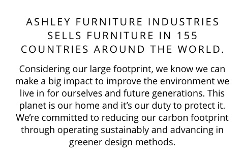 Ashley Furniture Industries sells furniture in 155 Countries around the World.