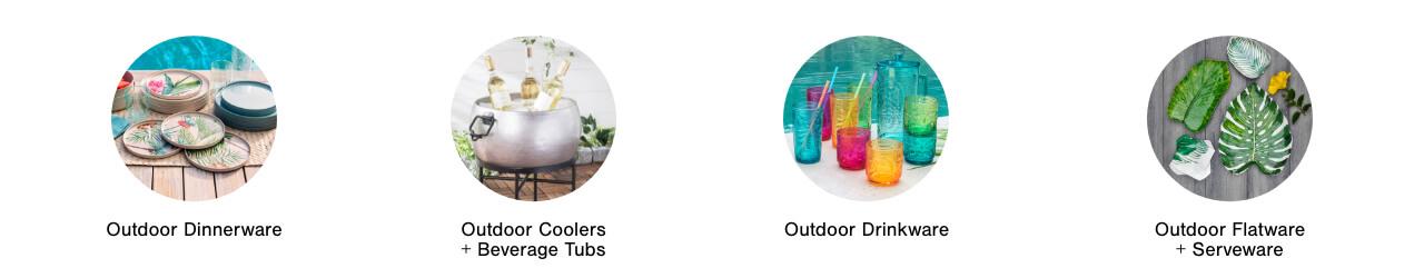 Outdoor Dinnerware,Outdoor Drinkware, Outdoor Serverware, Outdoor Tablecloths