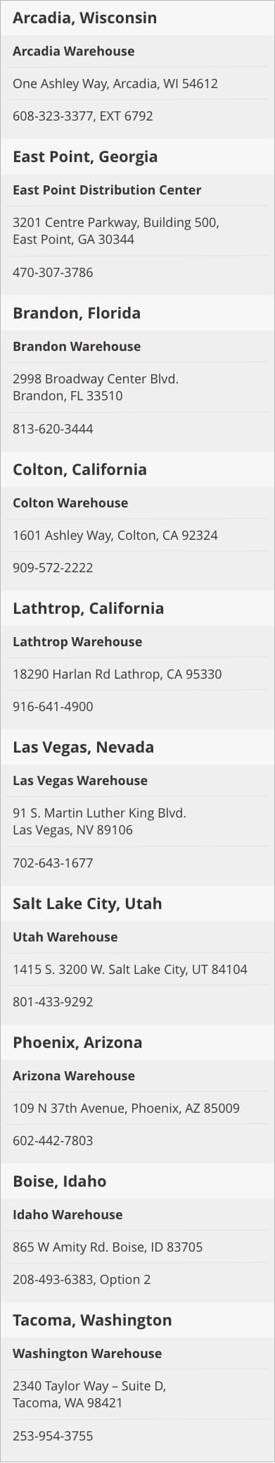 Warehouse Pickup Locations
