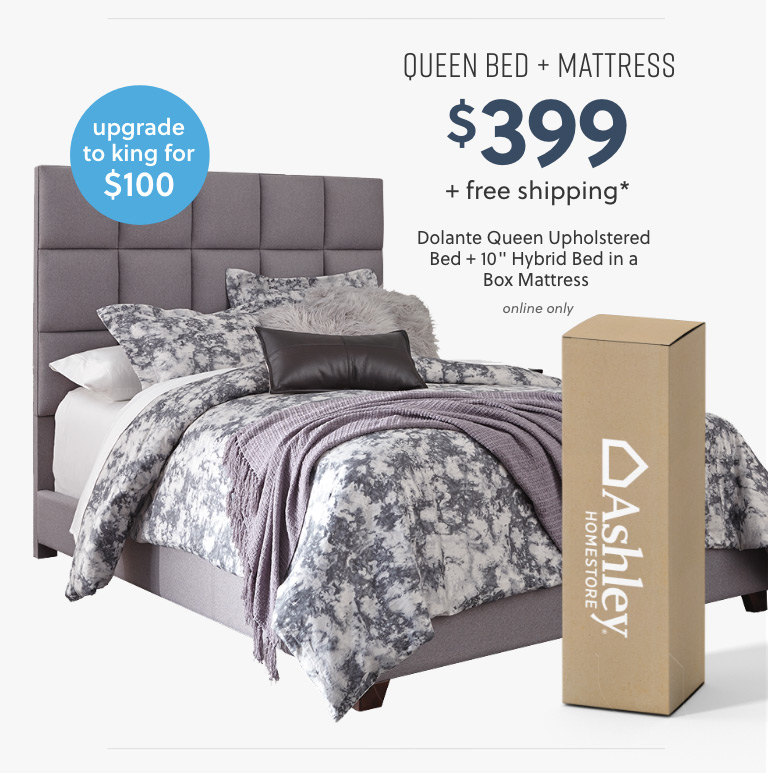 Dolante Queen Upholstered Bed with 10inch Hybrid Bed in a Box Mattress