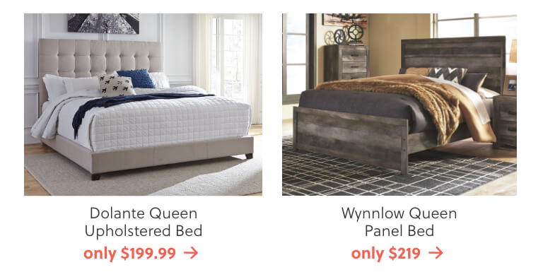 Dolante Queen Upholstered Bed, Wynnlow Queen Panel Bed