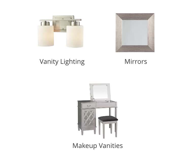 Vanity Lighting, Bathroom Mirrors, Makeup Vanities